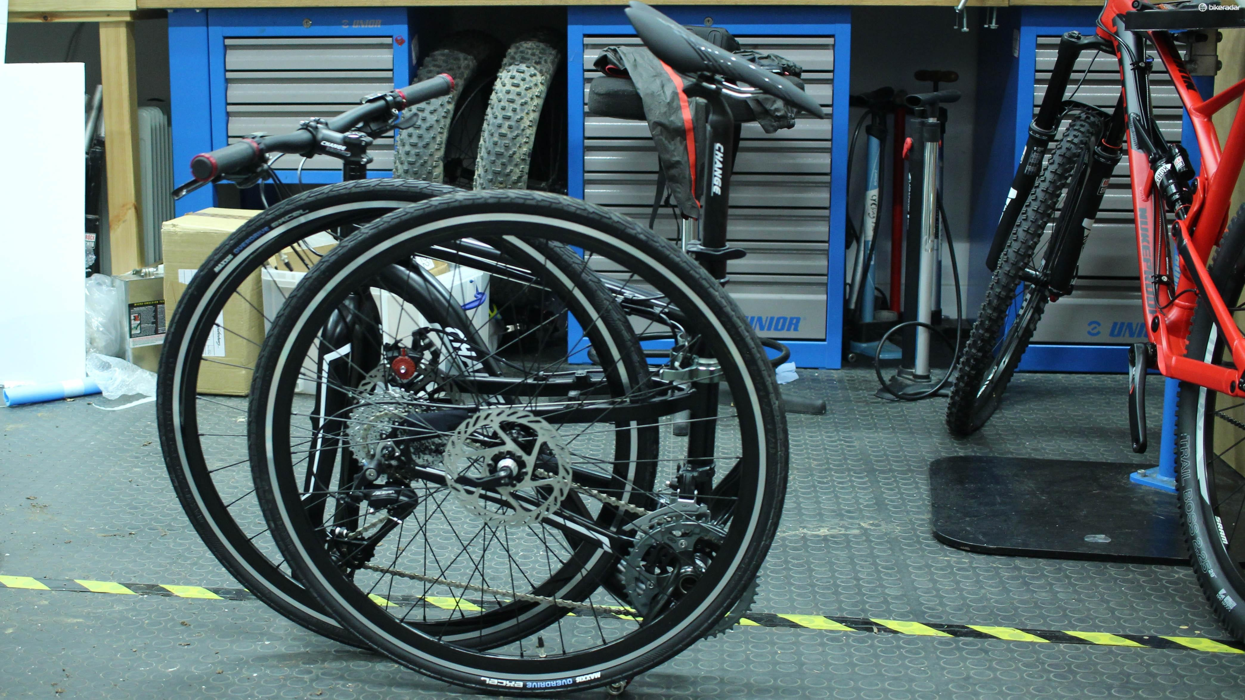 This one has 26in wheels yet folds down pretty well – it's no Brompton, though