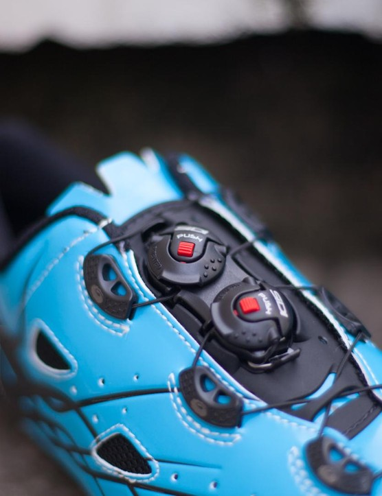 Sidi's dial closures have moved from the side of the shoe to the tongue