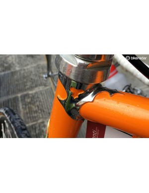 A detail of the curved lugs on the Tommasini frame
