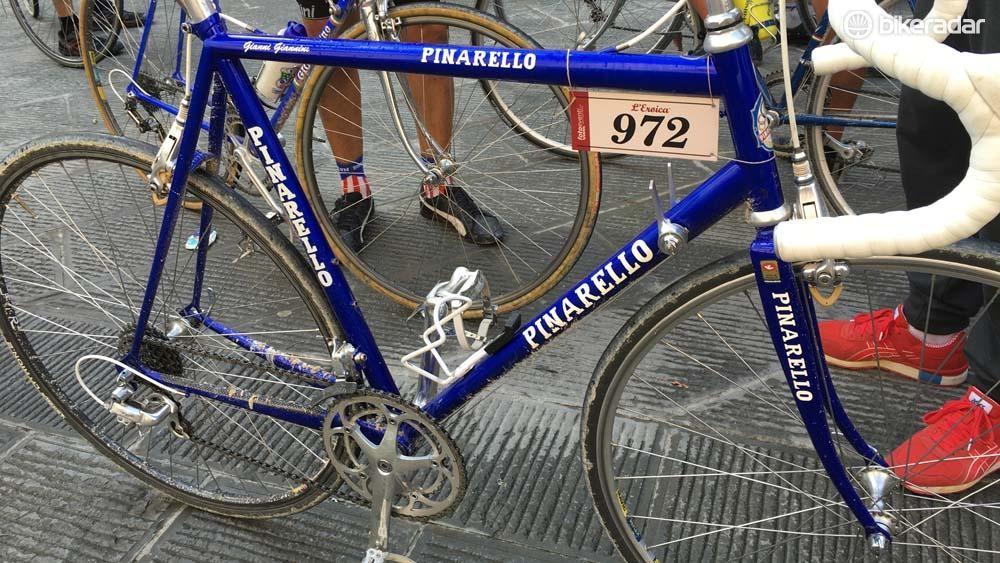 A classic deep blue Pinarello