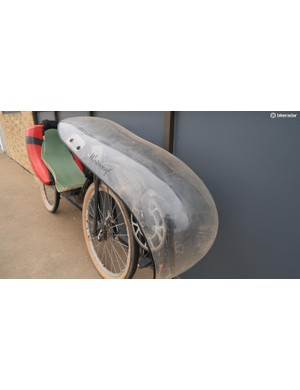 A Windwrap fairing added to his aerodynamic advantage