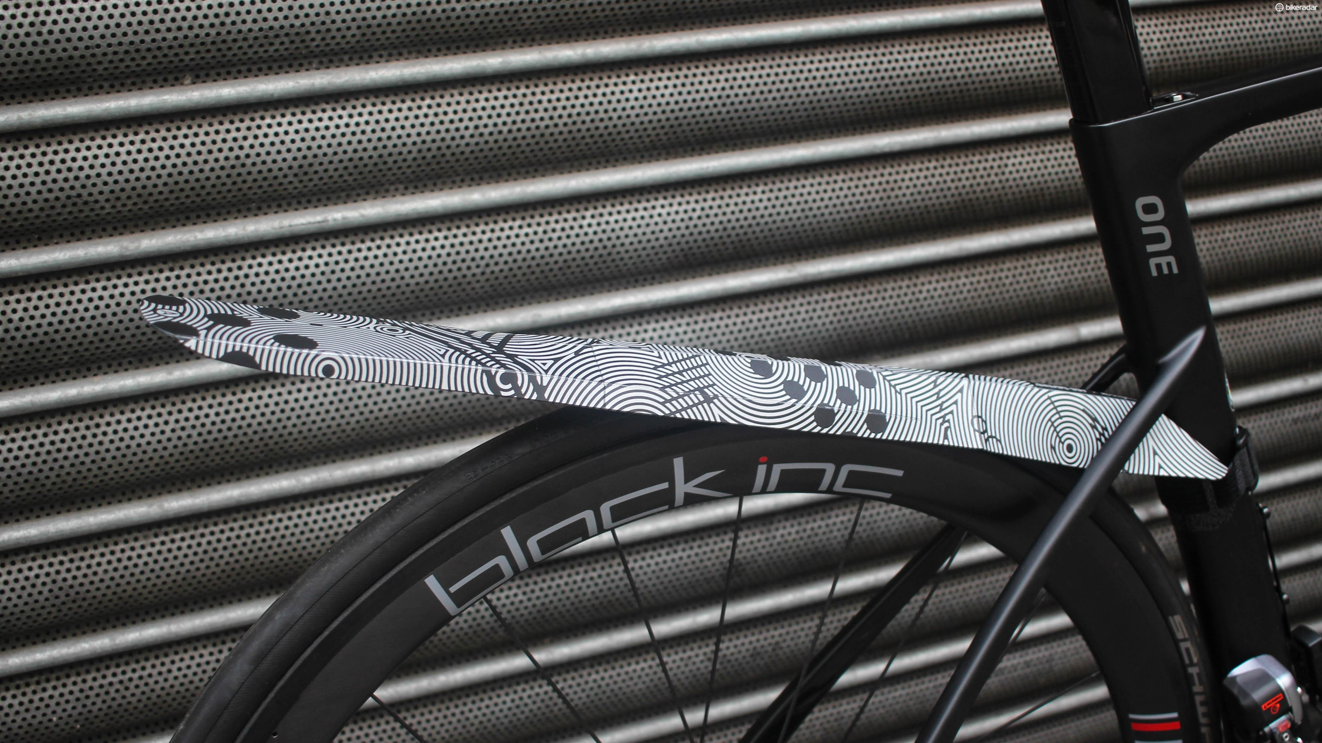 """This Fendor Bendor has a reflective design by top illustrator Bicycle Crumbs, and is described as the """"Jedi laser sword"""" of mudguards"""