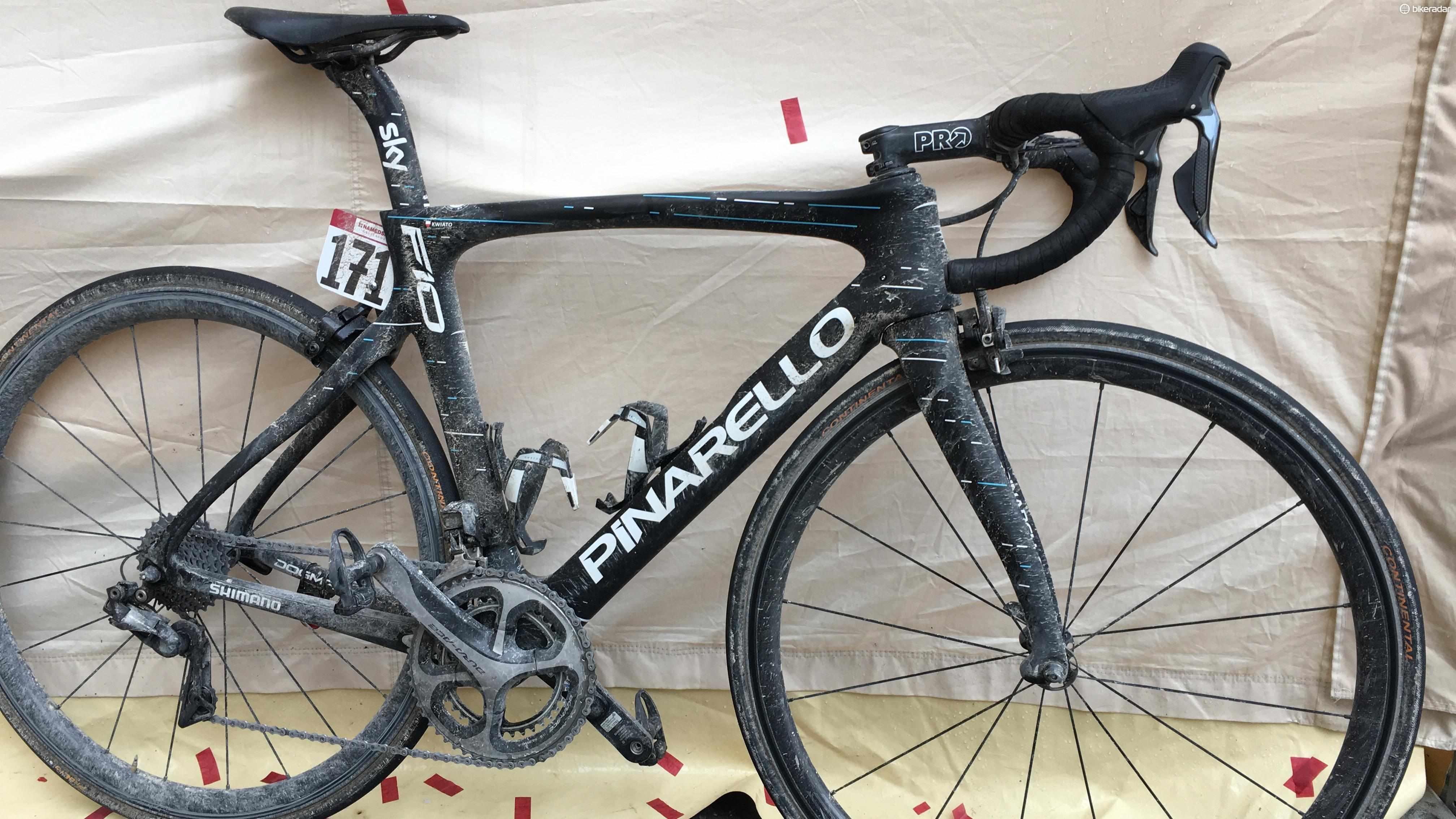 Michal Kwiatkowski's Pinarello Dogma F10 for the 2017 Strade Bianche
