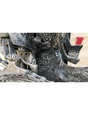 Kwiatkowski's Shimano gears managed the muddy conditions well