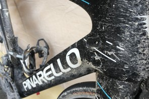 A close up of the head tube on Kwiatkowski's F10 after Strade Bianche