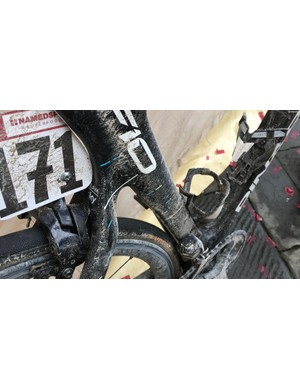 Custom graphics on the Team Sky Pinarellos don't include the mud splatter