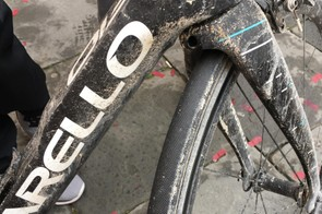 Plenty of the Tuscan mud from Strade Bianche was left on Kwiatkowski's bike after the race