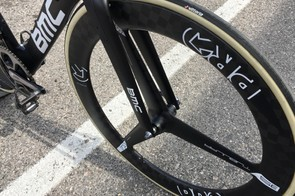 The same wheel that collapsed for Gianni Moscon during stage one