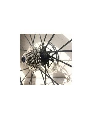 The wheelset's unique carbon hubs are pentagonal shaped