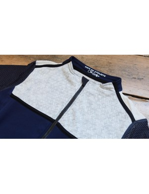 The Georgette jersey is constructed from panels of a range of different fabric types