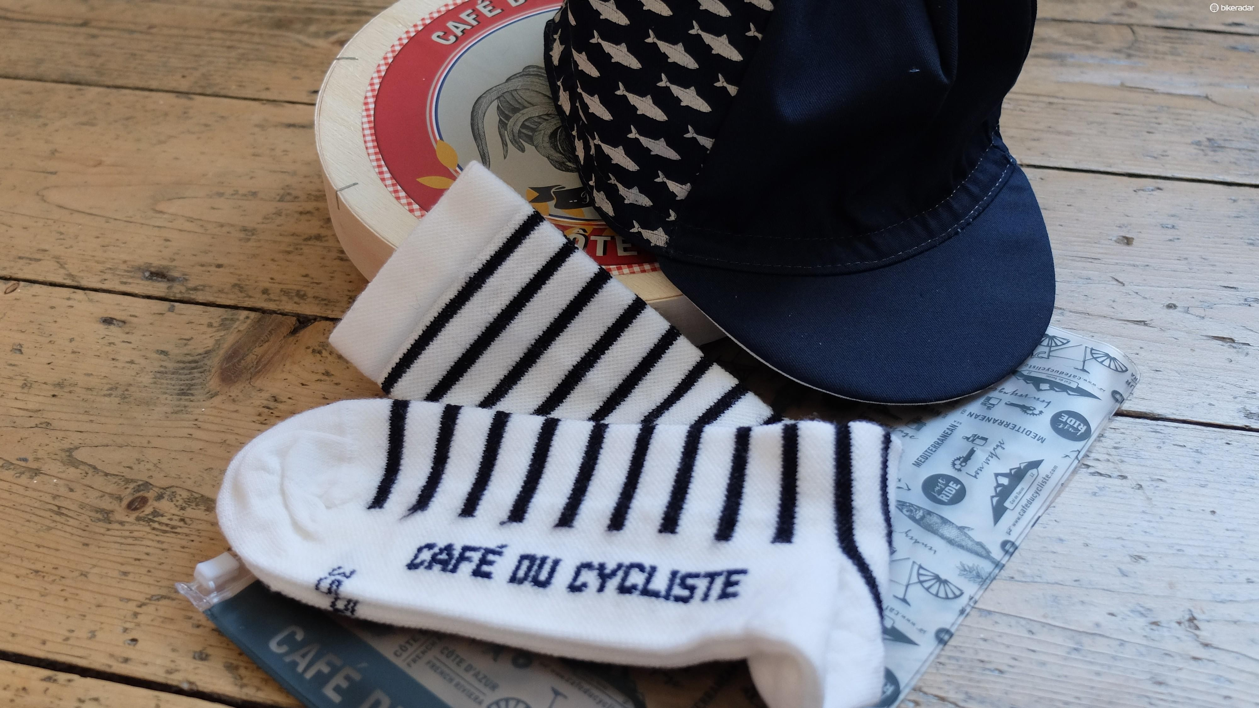 Complete the Frech chic with a pair of striped socks and a cap emblazoned with sardines