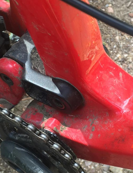 While it looks like there's room for a front derailleur, no provisions are present