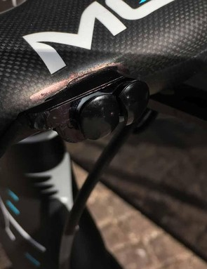 Froome runs a deconstructed Di2 climbing switch on the front of his handlebars for ease of shifting while climbing
