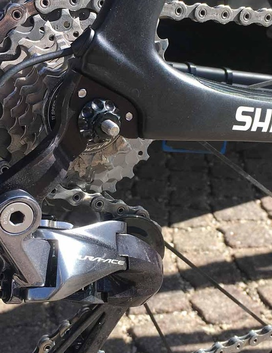 Pinarello has produced a prototype direct-mount rear derailleur hanger for the Dogma F10