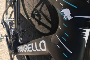 Chris Froome's bikes feature a rhino on the head tube cluster to promote a wildlife charity