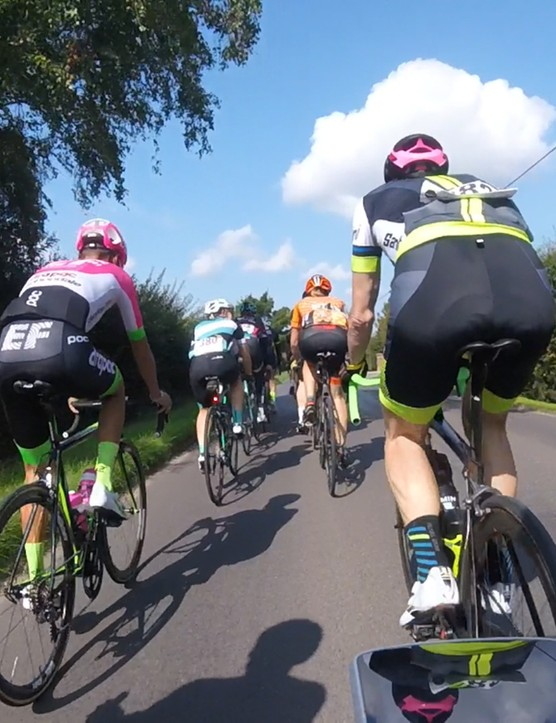 Big groups formed in the earlier part of the ride and WorldTour pros were happily mixed into the groups