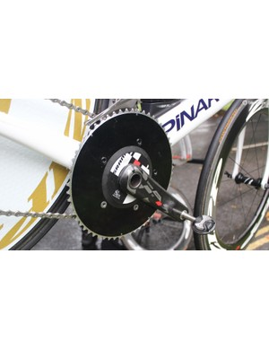 Wiggins' bike is fitted with a SRM powermeter