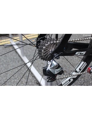 The Cervelo has Shimano Dura-Ace Di2 gearing with Ceramic Speed jockey wheels in the rear derailleur