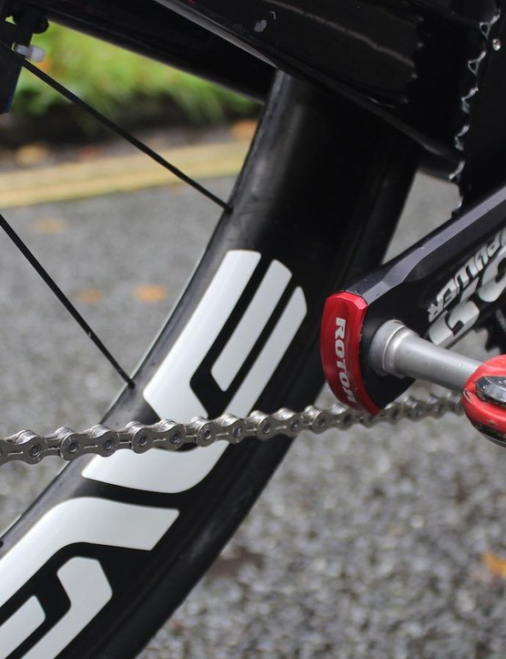 ROTOR supply Team Dimension Data with chainrings and cranks alongside the Speedplay pedals