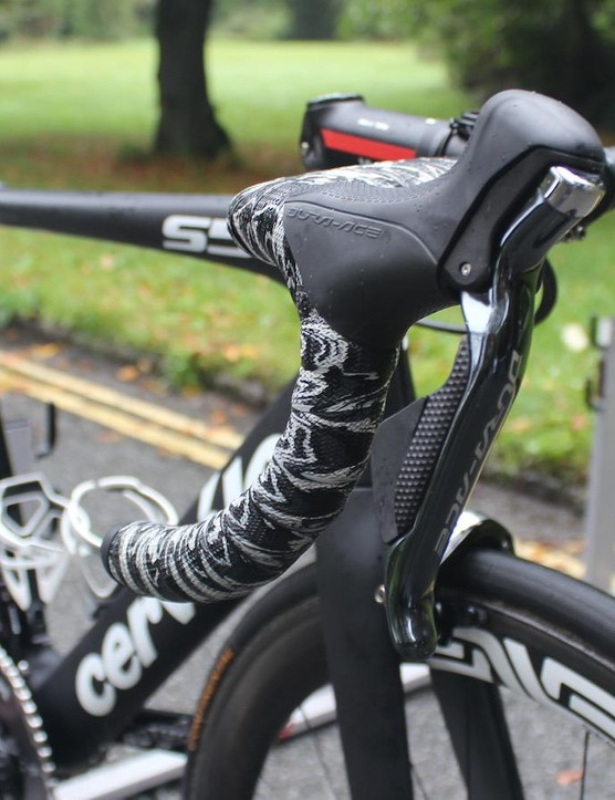 The bike is equipped with Shimano Dura-Ace Di2 gearing and brakes