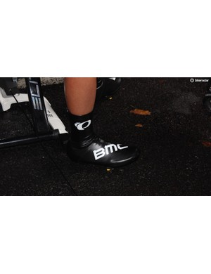 Many riders wore aero overshoes for the TT