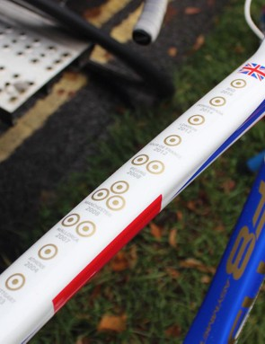 Wiggins palmares adorns the top tube of the frame