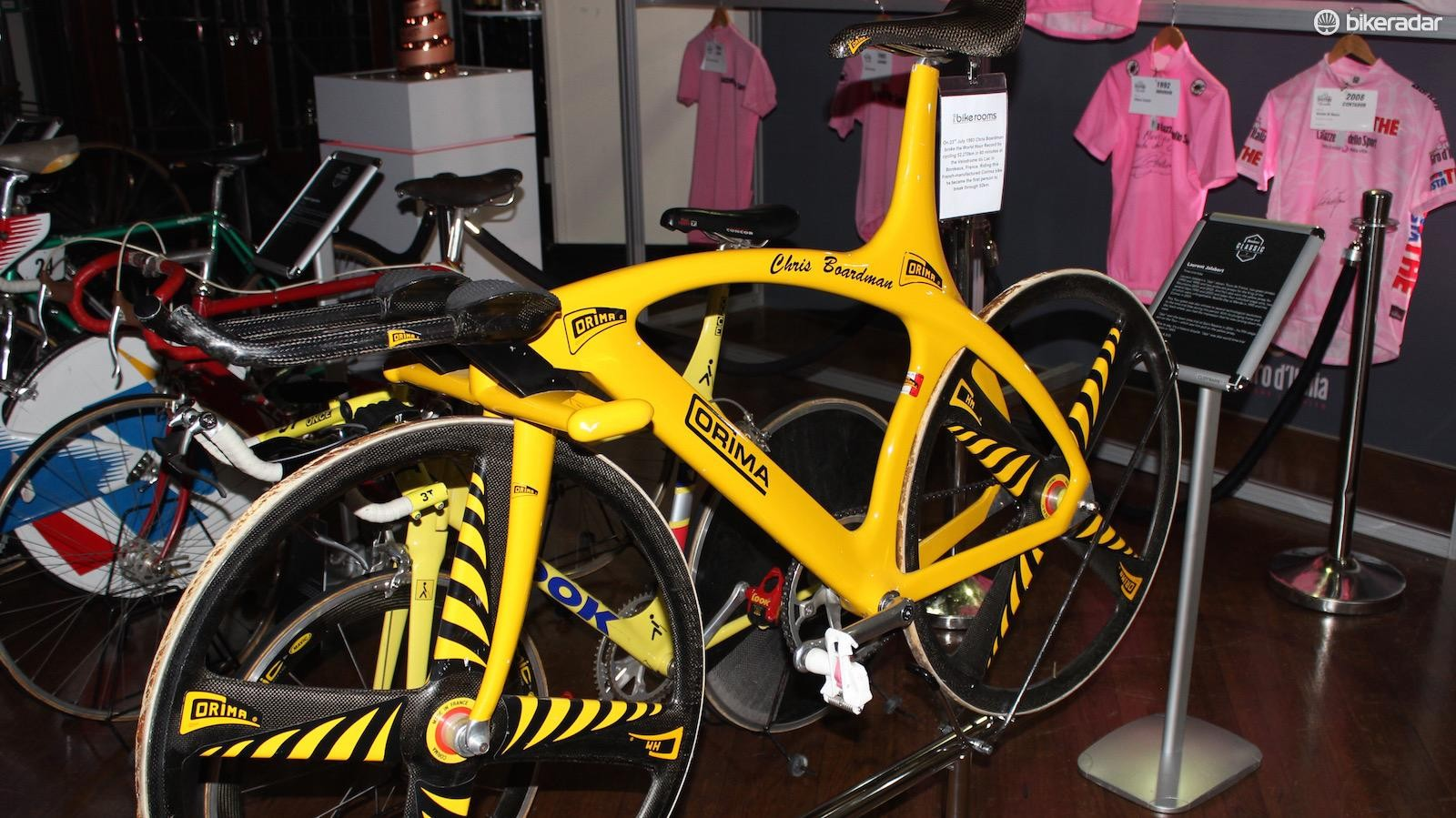 Chris Boardman's Corima hour record bike from 1993 made up one of the bikes in the Grand Tour Heritage Collection