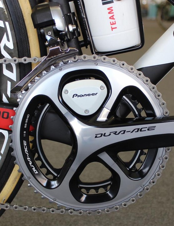 The bike is equipped with Shimano Dura-Ace Di2 shifting and a Pioneer power meter