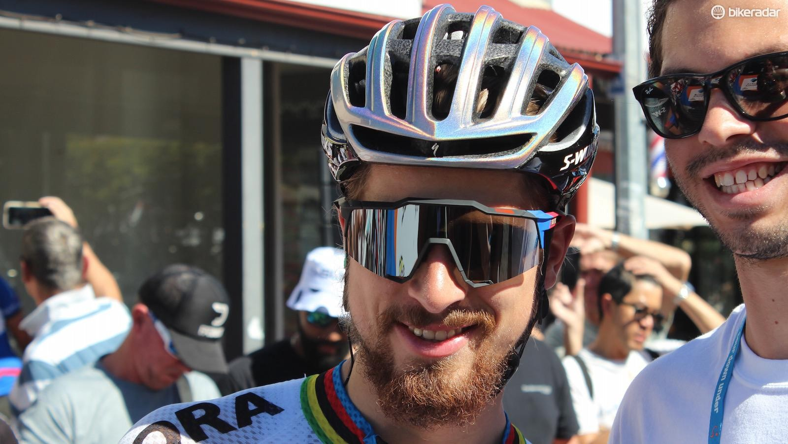 Peter Sagan's custom S-Works Prevail helmet and 100% glasses