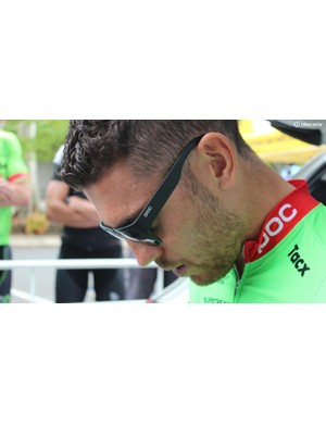 Patrick Bevan wears POC Want glasses ahead of the stage start