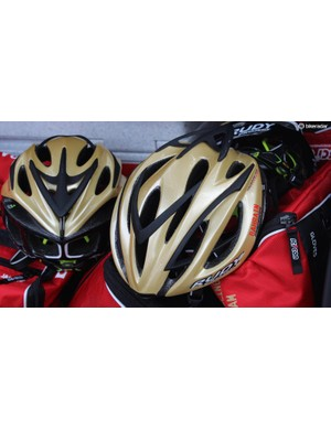 Rudy Project Racemaster helmets for Bahrain-Merida in distinctive gold
