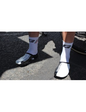 Unpainted versions of the shoes were seen earlier in the week and Hansen wore his branded versions on the penultimate stage