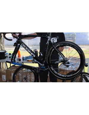 A Team Sky mechanic sets up Danny Van Poppel's bike with the latest 9100 series Shimano Dura-Ace wheels