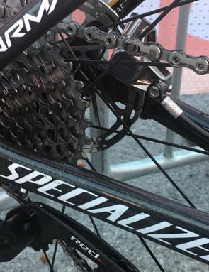 The Specialized Tarmac Disc has internal routing for the hydraulic-brake hoses