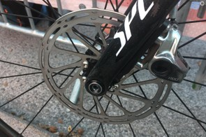 A close look at the SRAM Red Disc caliper and 160mm rotor
