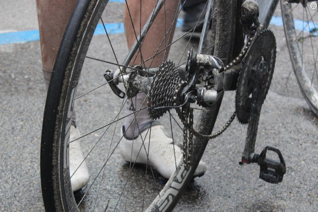 Nathan Hass experienced a broken rear derailleur in the closing stages of the race