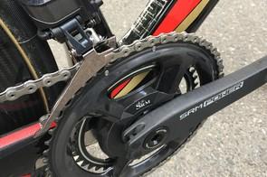 Nibali runs an SRM Origin crankset with Shimano Dura-Ace R9100 chainrings