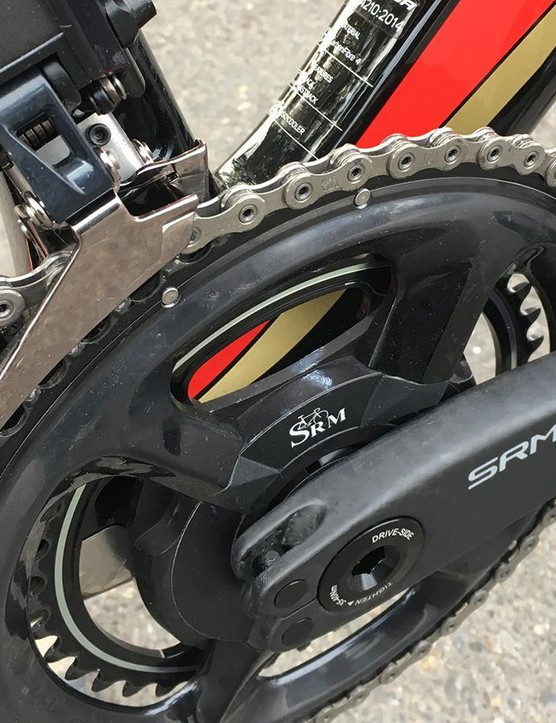 Nibali runs an SRM Origin crankset with Shimano Dura-Ace R9100 chainrings
