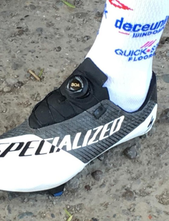 Deceuninck-QuickStep's Remco Evenepoel is wearing a black and white version of the new shoe at the Vuelta a San Juan