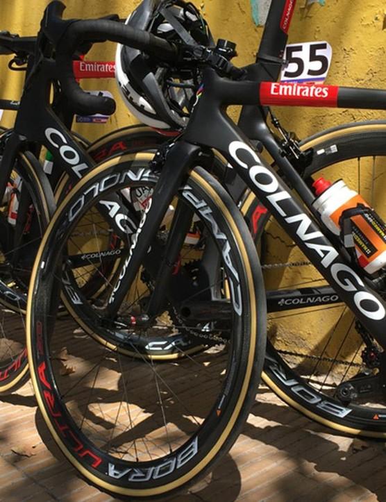 The matt black UAE Team Emirates Colnagos await the riders