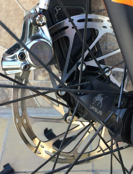 The KTM is fitted with Ursus wheels and SRAM disc brakes