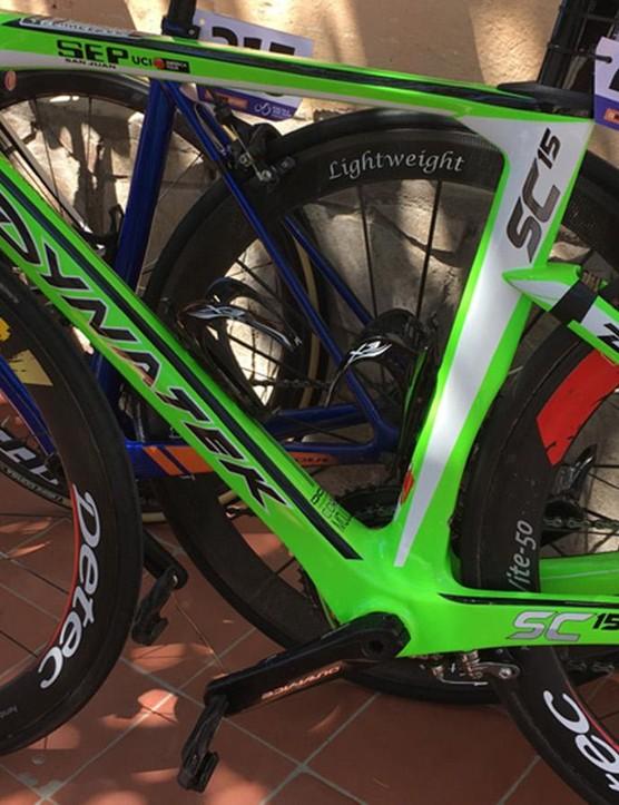 A Sel Brasil rider has this Dynatek bike for the Vuelta a San Juan