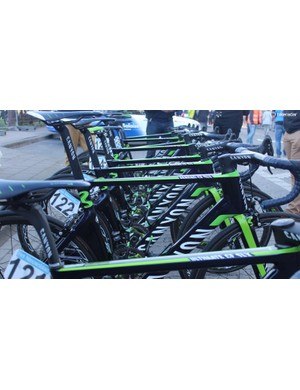 The Movistar team rode a mix of Canyon Ultimate and Aeroad framesets