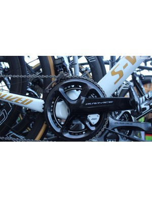 Boonen's S-Works Tarmac is equipped with Shimano Dura-Ace 9150 cranks and a 4iiii powermeter