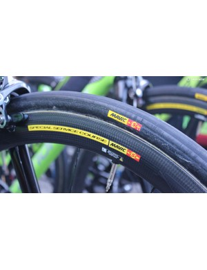 These Cannondale-Drapac tyres are badged up as Mavic, but in the past the team has been known to use Veloflex tyres