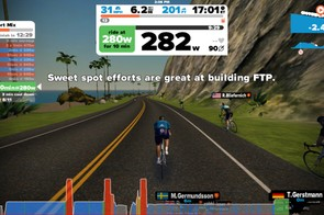 Workouts guide you through power-based intervals. Many of the details are hard to see on a phone
