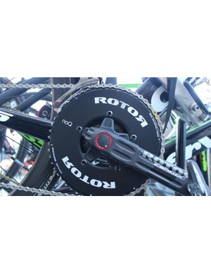 Edvald Boasson-Hagen's spare bike also ran a 54T ROTOR NoQ chainring, but with a silver KMC chain