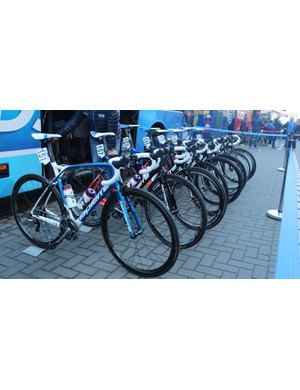FDJ's Lapierre Xelius machines lined up ahead of the start