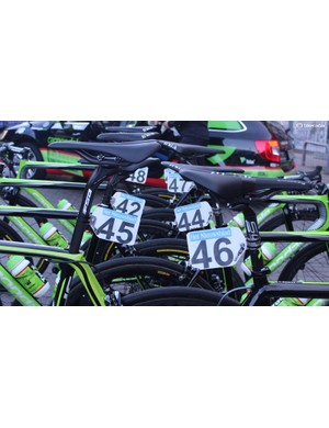 Cannondale-Drapac's bikes lined up ahead of the start