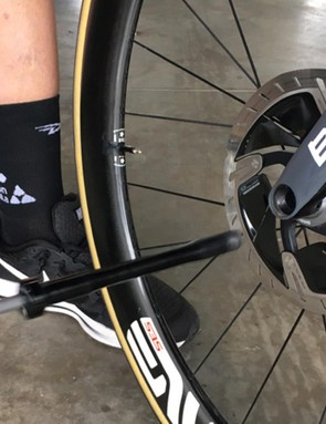 Quick release skewers are still used to secure wheels on team cars